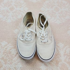 Vans Lace Up Cream Skateboard Shoes Size 7